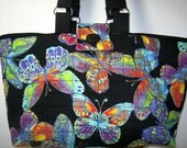 Butterfly Yarn Organizer Craft Project Tote Quilted, Library Book Bag
