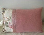 Pillow - Vintage up-cycled woollen blanket cushion cover with satin binding in mint, peach, pink, tapestry floral, and brocade fabrics.14x21