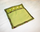 9 X 8 Olive Green with Large & Small Polka Dots. Pot Holder, Hot Pad, Oven Mitt, Insulated, Quilted, Big Pocket, Loop. Fall colors