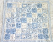 Blue Baby Blanket- 56 Crocheted Granny Squares- Baby Shower- Made To Order- Blue, White- Newborn