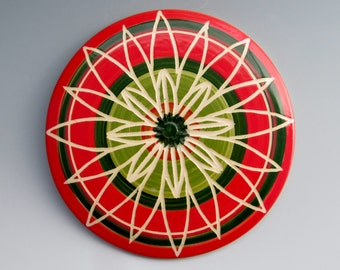 Sweet Briar College Fundraiser: Ceramic Trivet by LGG Creative Art, Pink and Green, Floral Design--Style #4