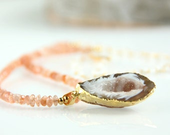 Sunstone & Druzy Necklace, Gold Dipped Geode, Moonstone Chain, Peach, Apricot