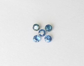 Genuine Blue Sapphire, Round Cut, Lot (5) of 1.56 carat