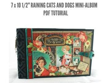 """7 1/2""""x10"""" Raining Cats and Dogs Scrapbook Mini-Album PDF Tutorial"""