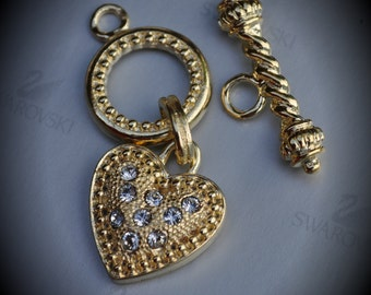 Genuine Large Gold Plated Swarovski Crystal Heart Toggle Clasp - Shadow Crystal