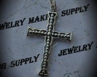 Medium Genuine Sterling Silver Cross Pendant