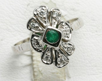 Vintage 14k white gold diamond EMERALD ring flower Vintage Reproduction Green Art Deco