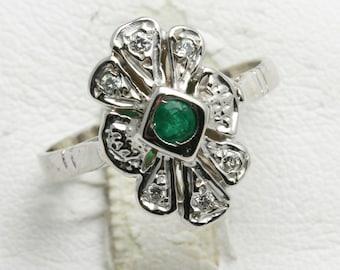 Vintage 14k white gold diamond EMERALD ring flower Vintage Reproduction Green Art Deco