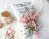 Belle Rose French Grainsack Lavender Sachet Gift Set of 2 Sachets, with gift bag and tag, Shabby Roses Sachets, guest favors, event, shower