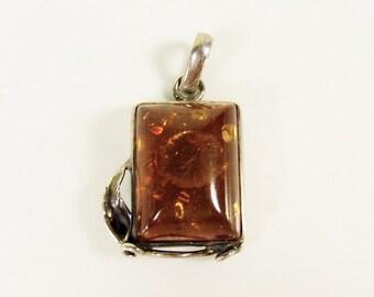 Baltic Amber Sterling Pendant - Vintage Honey Silver Rectangle Leaf Vine