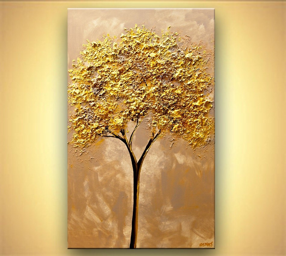 Gold tree painting 40 x 24 original abstract for Gold paintings on canvas