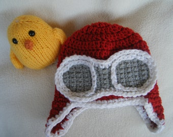 Cute Red Crocheted Aviator Baby Hats - Made to Order