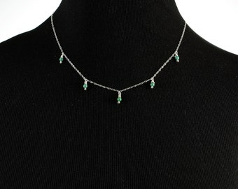 Five Turquoise Drops Necklace with Sterling Silver Chain, Southwestern Necklace, Turquoise Necklace, Sterling Silver Necklace