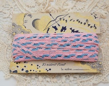 Vintage French ribbon trim, pink and blue, original card, 10 metres, French passementerie, vintage braid, baby clothes dolls clothes,