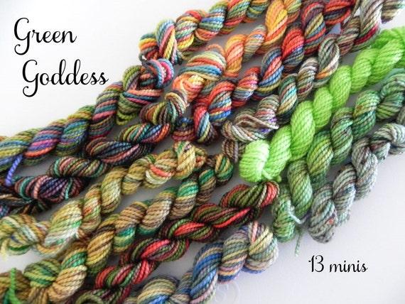 Knitting Goddess Mini Skeins : Green goddess mini sock skeins yds each