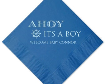Ahoy It's A Boy Baby Shower Personalized Napkins