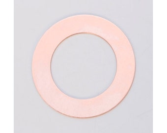 """Copper Large Ring Washer 1-3/8"""" 24ga Package of 6"""