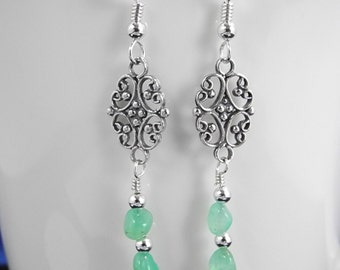 Long Green Chrysoprase Earrings, Sterling Filigree Earring, Sterling Silver Dangle Earrings, Chrysoprase Jewelry, Mystical Moon Designs