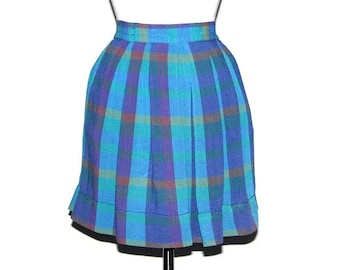 Vintage 80s 90s Blue & Turquoise Summer Plaid Pleated High-Waist Skirt- Size L