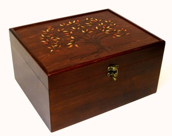 """Autumn Tree of Life Deluxe Memory Chest: Solid Maple, 12"""" x 9.5"""" x 6"""", Large Wooden Keepsake Box, Valet Box, Wedding Guest Book alternative"""