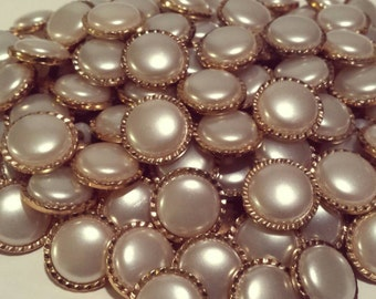 20 Large Gold and Pearl Round Shank Buttons, fancy novelty buttons, size 3/4""