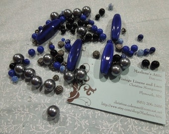 Lot of Black and Blue shade Beads for jewelry, bracelet, necklaces, earrings by MarlenesAttic