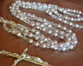 Wedding Lasso, lazo, pink pearls with crystals and silver crucifix cross
