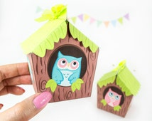 Owl House Printable Gift Boxes, Woodland Party Favors, Owl House Favor Boxes, Printable PDF Gift Boxes, Woodland Baby Shower Favors,