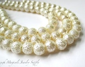 Ivory Cream Crinkle Pearls 8mm Off White Acrylic Faux Pearls - 30 Pieces