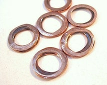 Solid Copper Washer Rings Rustic Hammered Metalwork 12mm - 6 Piece Set Findings