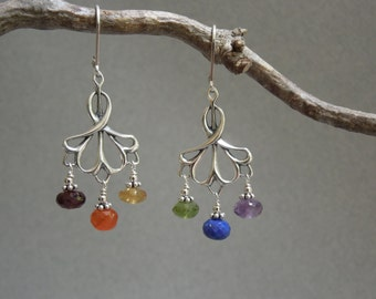 Rainbow Gemstone Chandelier Earrings: Six Chakras, Pride Earrings, Elegant Rainbow Earrings, Red, Orange, Yellow, Green, Blue, Violet