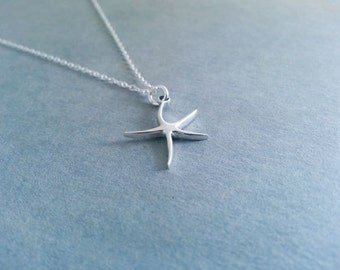 Starfish Necklace, Sterling Silver Necklace, Nautical Necklace, Summer Jewelry, Sterling Silver Starfish Pendant, Summer Necklace