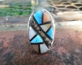 Vintage Sterling Silver Ring Zuni Channel Inlay Turquoise Mother of Pearl Spiny Oyster Native American Size 11.5 or 11 1/2
