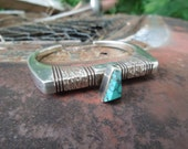 Sterling Silver Cuff Bracelet American Indian Turquoise Cuff Signed Nusle Modernist Wood Grain