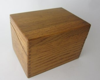 Vintage Oak Recipe Box Card File Box Dove Tail Construction Hinged Brass Kitchen Accessory