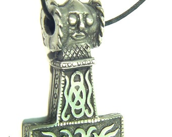 Thor's Hammer Necklace Pewter Pendant Viking Mjollnir Norse Odin 1857B