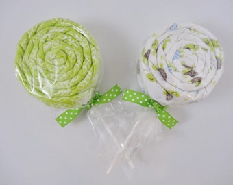 Neutral Baby Gift - 2 Receiving Blanket Lollipops