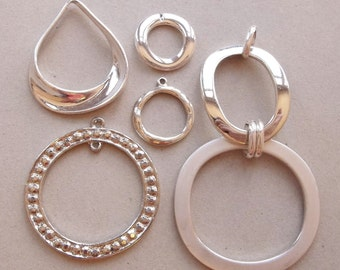 silver tone metal destash of metal jewelry components links and hoops for creating ooak jewelry--lot of 6 items