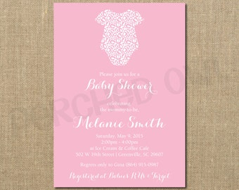Pink Leopard Baby Shower Invitation - Digital File