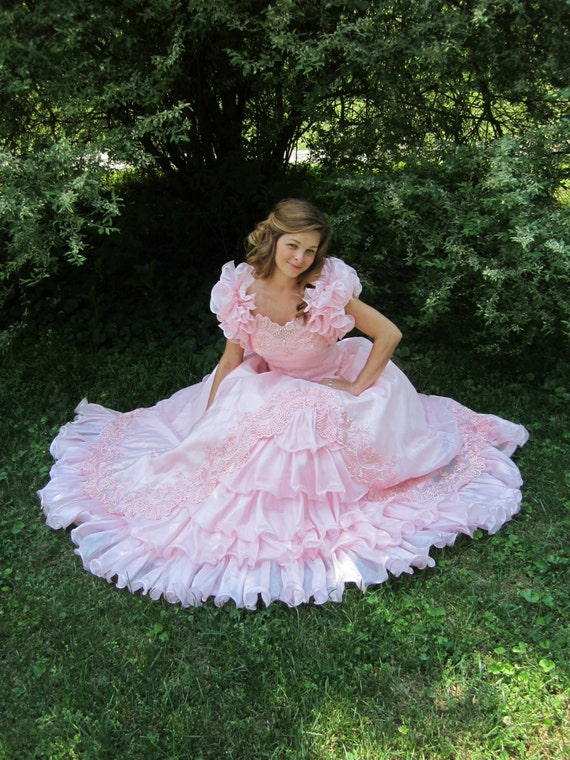 1980s Pink Ball Gown 80s Cupcake Frilly Southern Belle