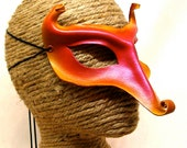 Flame Imp, Mischievous Red and Yellow Mask with Tweaked Beak, Leather Fae Art Mask, Fairy Mask