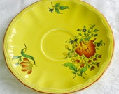 VTG French Saucer Luneville Frysee Yellow China Accent Plate Replacement Wall Decor