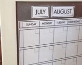 Large Dry/Wet Erase Magnetic Calendar with 6 Weeks Showing at all times. White Linen Calendar Color. You pick Frame Color & Font.