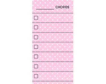 SKINNY Pink Polk a Dot Fill In Chore Chart Magnet.  Wet Erase Marker Included.