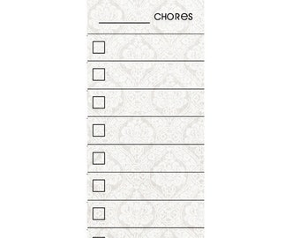 SKINNY Vintage White Fill In Chore Chart Magnet.  Wet Erase Marker Included.