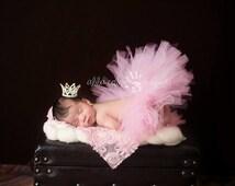 Princess Crown, Baby Pink Tutu, Newborn Tutu Set- Baby Pink Tutu with Rhinestone Princess Tiara