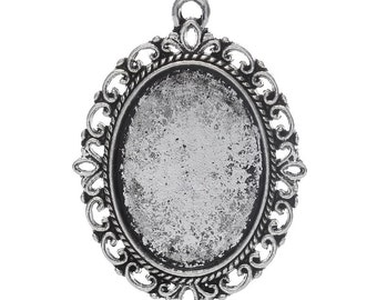 3pc Antique Silver Cabochon Settings - Fits 18x25mm - Ships from USA, Cameo Setting, Jewelry Finding, Jewelry Supplies, Jewelry Making - S47