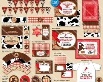 Cowboy Party Decorations | Cowboy Birthday Party Decorations | Printable Little Cowboy Party Supplies | Cowboy Invitation Sold in Shop