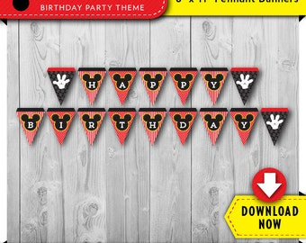 Mickey Mouse Birthday Banner, Printable Mickey Mouse Happy Birthday Banner, Mickey Mouse Party Banner