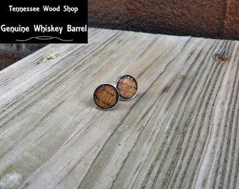 Solid 925 Sterling Silver Stud Earrings with Charred Whiskey Barrel Wood Inlay Handmade